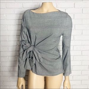Zara Women's Gray Knotted Top